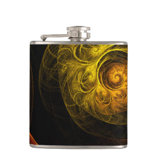 Sunrise Floral Red Abstract Art Hip Flask