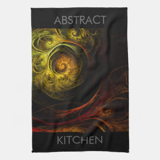 Sunrise Floral Red Abstract Art Kitchen Towel