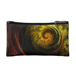 Sunrise Floral Red Abstract Art Makeup Bag