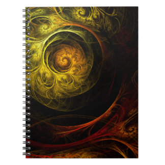 Sunrise Floral Red Abstract Art Notebook
