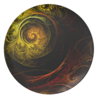 Sunrise Floral Red Abstract Art Plate