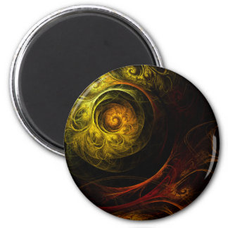 Sunrise Floral Red Abstract Art Round Magnet