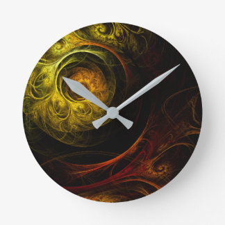 Sunrise Floral Red Abstract Art Round Round Clock