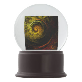 Sunrise Floral Red Abstract Art Snow Globes