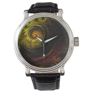 Sunrise Floral Red Abstract Art Watch