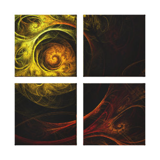 Sunrise Floral Red Abstract Quad Canvas Print