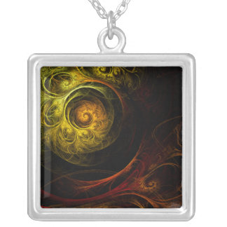 Sunrise Floral Red Abstract Silver Necklace