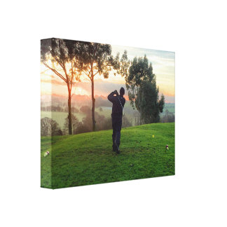 Sunrise Golfer Stretched Canvas Print