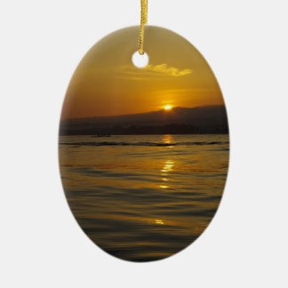 Sunrise in Bali island Ceramic Oval Decoration