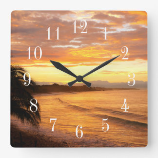 Sunrise in the Tropics Tropical Beach Wall Clock