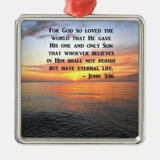 SUNRISE JOHN 3:16 INSPIRING PHOTO METAL ORNAMENT