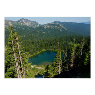 Sunrise Lake from Above at Mount Rainier Park Poster