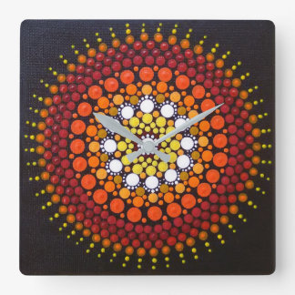 Sunrise Mandala Square Clock
