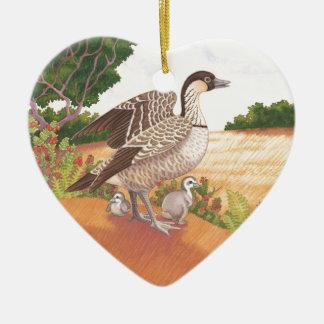 Sunrise Nene (Hawaiian Goose) Ceramic Heart Decoration