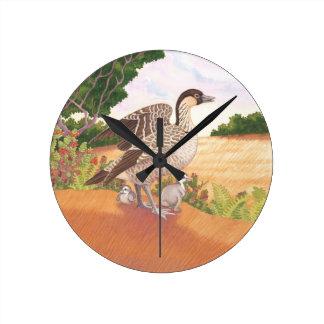 Sunrise Nene (Hawaiian Goose) Round Clock