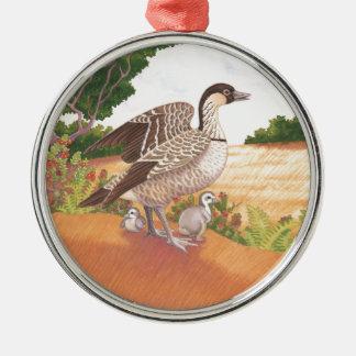 Sunrise Nene (Hawaiian Goose) Silver-Colored Round Decoration