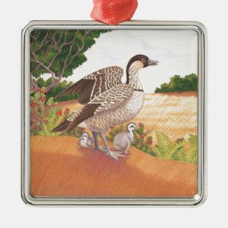 Sunrise Nene (Hawaiian Goose) Silver-Colored Square Decoration
