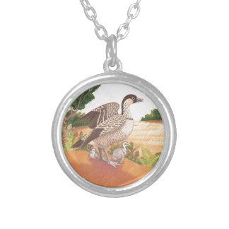 Sunrise Nene (Hawaiian Goose) Silver Plated Necklace
