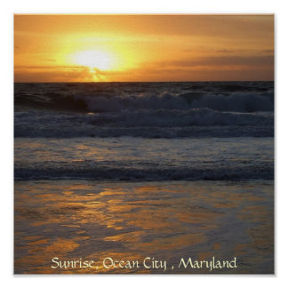 Sunrise, Ocean City , Mar... Poster