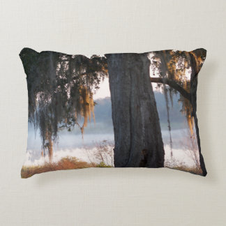 Sunrise on a small misty lake in the South Decorative Cushion