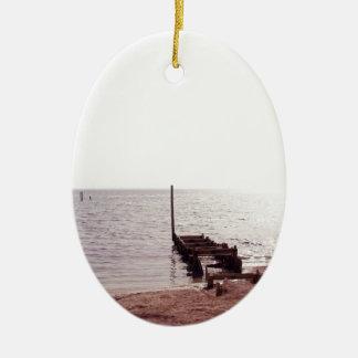sunrise on the beach photograph ceramic ornament