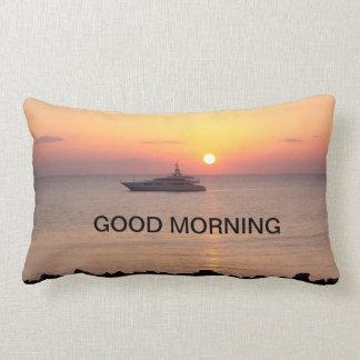 Sunrise on the front, sunset on the back lumbar cushion