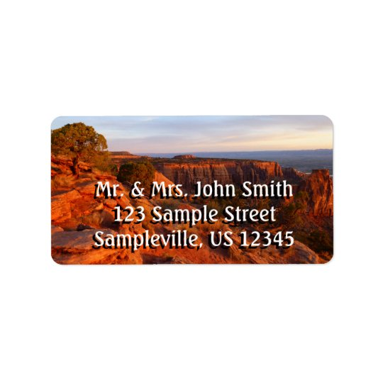 Sunrise on the Grand View Trail at CO Monument Address Label