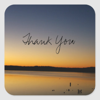 Sunrise on the Lake Thank You Square Sticker