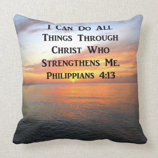 SUNRISE ON THE OCEANS PHILIPPIANS 4:13 SCRIPTURE CUSHION
