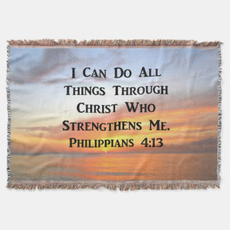 SUNRISE ON THE OCEANS PHILIPPIANS 4:13 SCRIPTURE THROW BLANKET