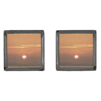 Sunrise over Aruba I Caribbean Seascape Gunmetal Finish Cufflinks