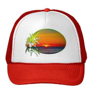 Sunrise over Atlantic Ocean Palms Tropical Plant 4 Trucker Hats