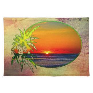 Sunrise over Atlantic Ocean Palms Tropical Plants Place Mats