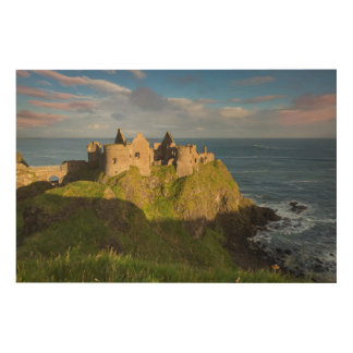 Sunrise Over Dunluce Castle Ruins Wood Print
