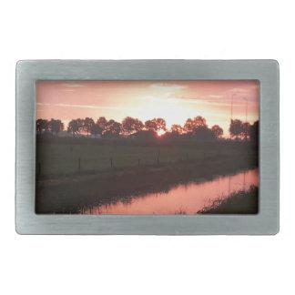 Sunrise Over Farmland Belt Buckles