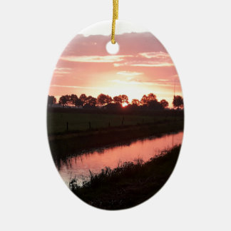 Sunrise Over Farmland Ceramic Ornament