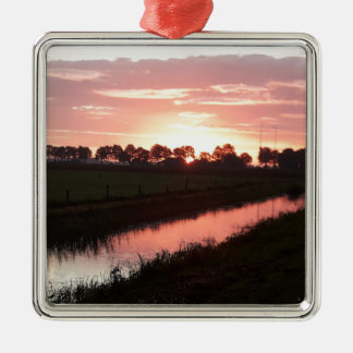 Sunrise Over Farmland Metal Ornament