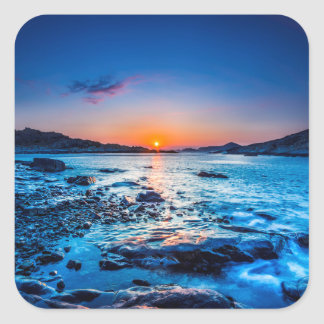 Sunrise Over Horizon At Seashore At Dawn Square Sticker