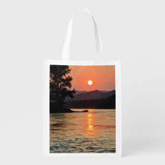 Sunrise Over Katun River Reusable Grocery Bag