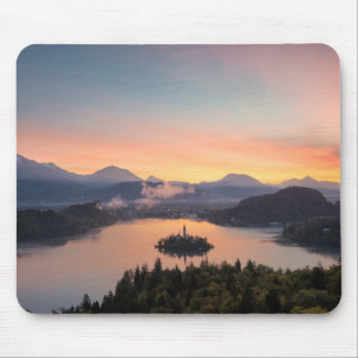 Sunrise over Lake Bled mousepad
