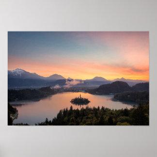 Sunrise over Lake Bled poster print