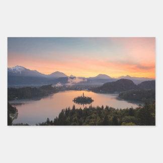 Sunrise over Lake Bled rectangular sticker