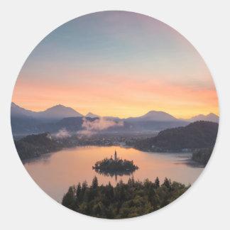 Sunrise over Lake Bled round sticker