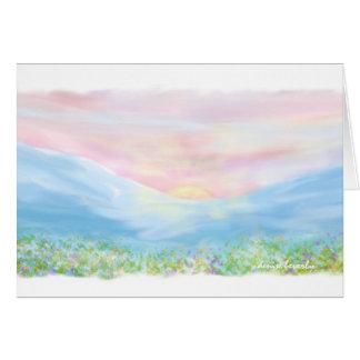 sunrise over the mountains - original artwork note card