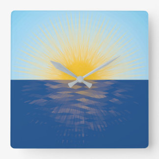 Sunrise over the Ocean Polygon Art Square Wall Clock