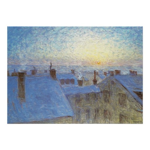 Sunrise over the rooftops poster
