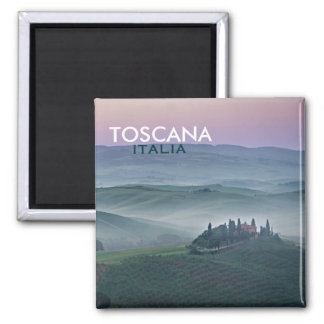 Sunrise over Tuscany landscape square text magnet