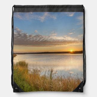 Sunrise Over Wetlands At Arrowwood National Drawstring Backpacks