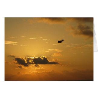 Sunrise & seaplane in the Maldives Card