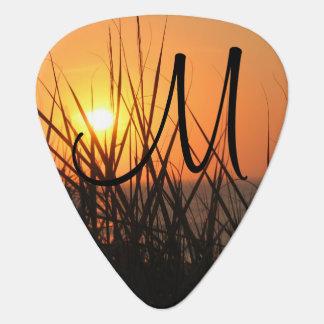 Sunrise Silhouette Summer Beach Add A Monogram Plectrum